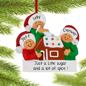 Personalized Making a Gingerbread House Family of 3 Christmas Ornament