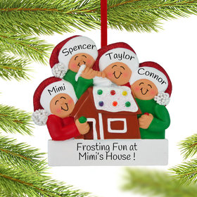 Personalized Making a Gingerbread House Family of 4 Christmas Ornament