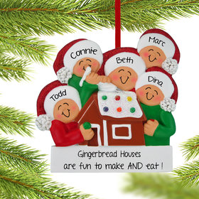 Personalized Making a Gingerbread House Family of 5 Christmas Ornament