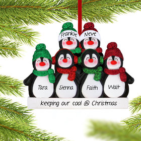 Personalized Glitter Penguin Family of 6 Christmas Ornament