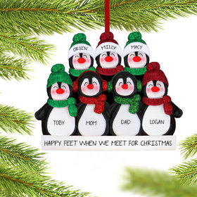 Personalized Glitter Penguin Family of 7 Christmas Ornament