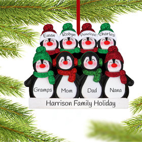 Personalized Glitter Penguin Family of 8 Christmas Ornament