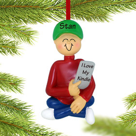 Personalized E-Reader Male Christmas Ornament