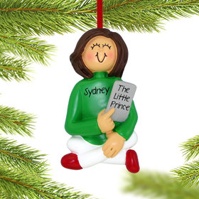 Personalized E-Reader Female Christmas Ornament