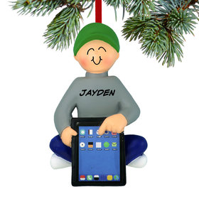 Personalized Boy with Tablet Christmas Ornament