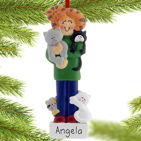 Personalized I Love Cats Female Christmas Ornament
