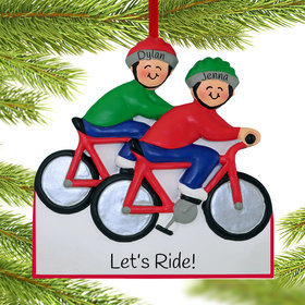 Personalized Bike Riding Couple Christmas Ornament