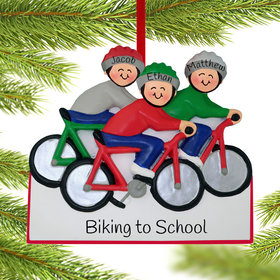Personalized Bike Riding Family of 3 Christmas Ornament