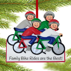 Personalized Bike Riding Family of 4 Christmas Ornament