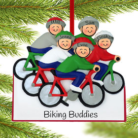 Personalized Bike Riding Family of 5 Christmas Ornament