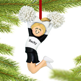 Personalized Cheerleader Black and White Uniform Christmas Ornament