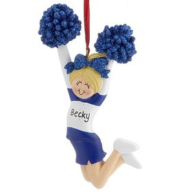 Personalized Cheerleader Blue and White Uniform Christmas Ornament