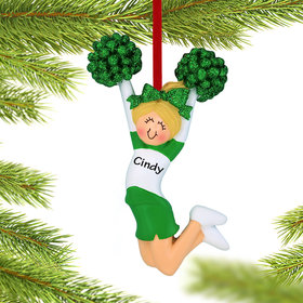 Personalized Cheerleader Green and White Uniform Christmas Ornament