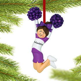 Personalized Cheerleader Purple and White Uniform Christmas Ornament