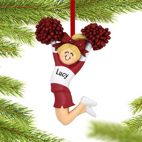 Personalized Cheerleader Red and White Uniform Christmas Ornament