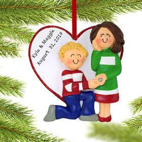 Personalized Will You Marry Me Couple Christmas Ornament