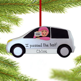 Personalized Driver's Permit Female Christmas Ornament