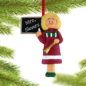 Personalized Teacher at the Blackboard Christmas Ornament