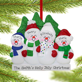 Personalized Snowman Family of 4 Christmas Ornament