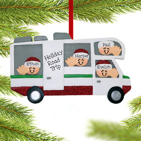 Personalized RV Motor Home Family of 4 Christmas Ornament