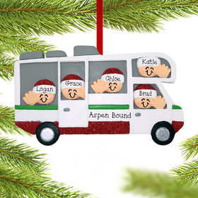 Personalized RV Motor Home Family of 5 Christmas Ornament
