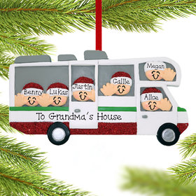 Personalized RV Motor Home Family of 6 Christmas Ornament