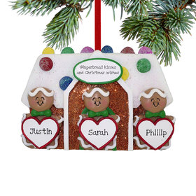 Personalized Gingerbread Family of 3 Family Christmas Ornament