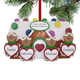 Personalized Gingerbread Family of 4 Family Christmas Ornament