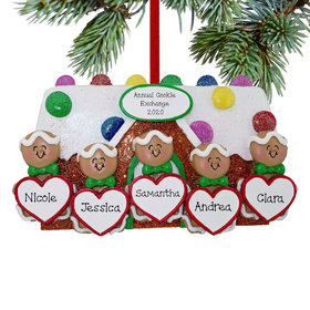 Personalized Gingerbread Family of 5 Family Christmas Ornament