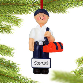 Personalized EMT Male Christmas Ornament