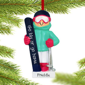 Personalized Skiing Girl Christmas Ornament