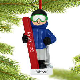 Personalized Skiing Boy Christmas Ornament