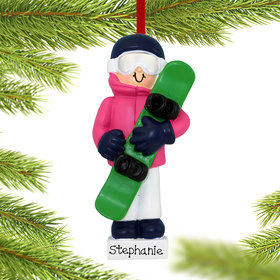 Personalized Snowboarding Girl Christmas Ornament