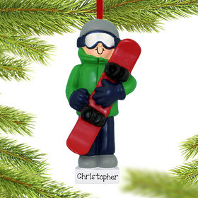 Personalized Snowboarding Boy Christmas Ornament