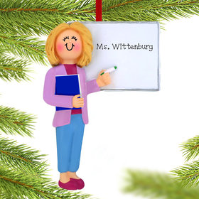 Personalized Teacher at Whiteboard Christmas Ornament