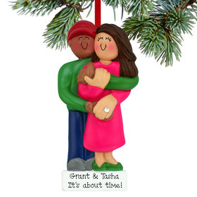 Personalized Engagement Couple Christmas Ornament