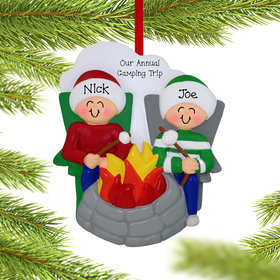 Personalized Firepit Couple Christmas Ornament