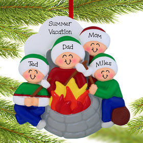 Personalized Firepit Family of 4 Christmas Ornament