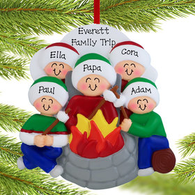 Personalized Firepit Family of 5 Christmas Ornament