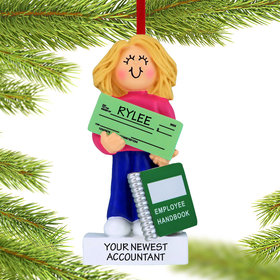 Personalized New Job Girl Christmas Ornament