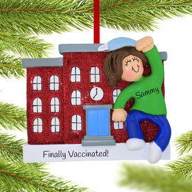 Personalized Vaccine Pandemic Escape Girl Christmas Ornament