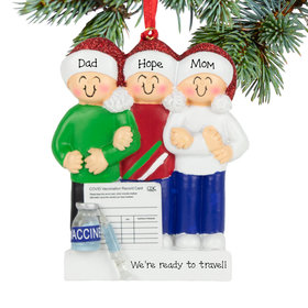 Personalized Vaccine Family of 3 Christmas Ornament