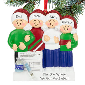 Personalized Vaccine Family of 4 Christmas Ornament