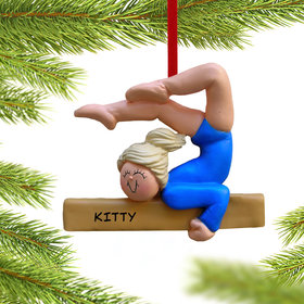 Personalized Gymnastics Girl on a Balance Beam in Blue Leotard Christmas Ornament