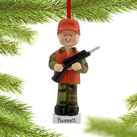 Personalized Hunter in Orange Hat and Vest with Rifle Christmas Ornament