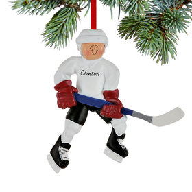Personalized Hockey Player Ready To Score Christmas Ornament