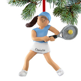 Personalized Tennis Player Girl Christmas Ornament
