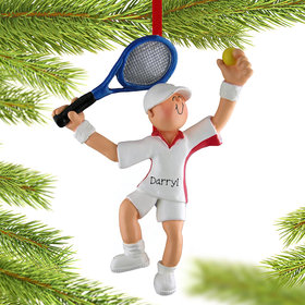 Personalized Tennis Player Boy Christmas Ornament