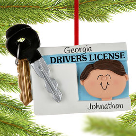 Personalized License with Key Boy Christmas Ornament