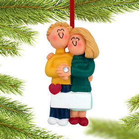 Engagement Couple Hugging Each Other Christmas Ornament